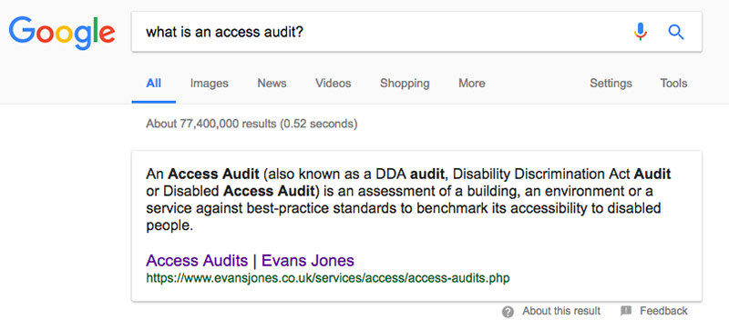 screenshot of evans jones' access audit featured snippet