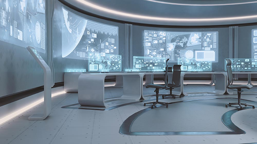 futuristic looking office with holograms and virtual displays