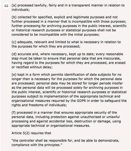 GDPR's 6 data protection principles