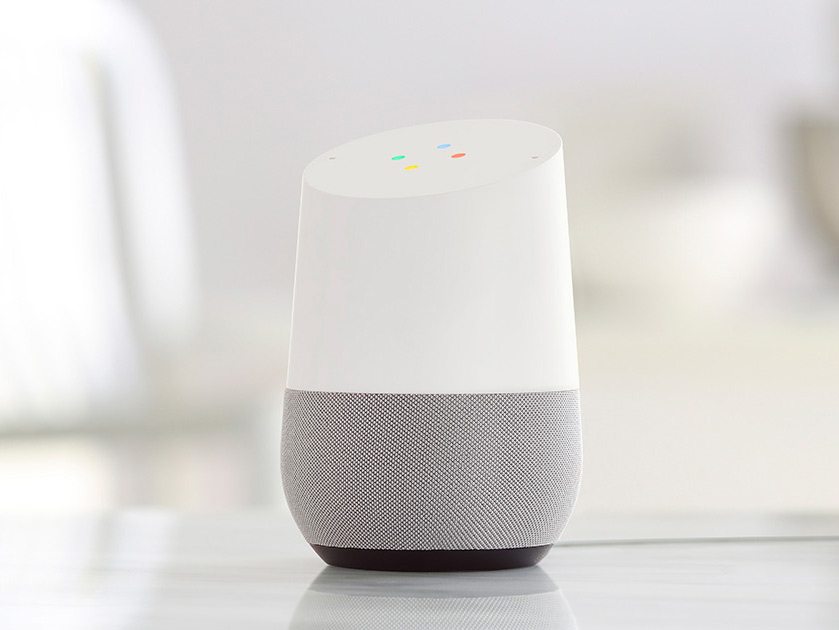 Google home voice device on counter