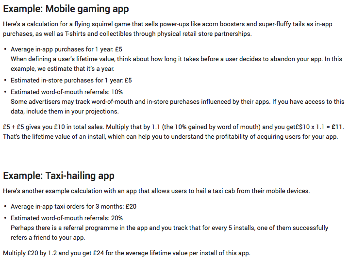 mobile app lifetime value example