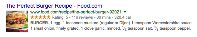 Structured data rich snippet example of a burger recipe
