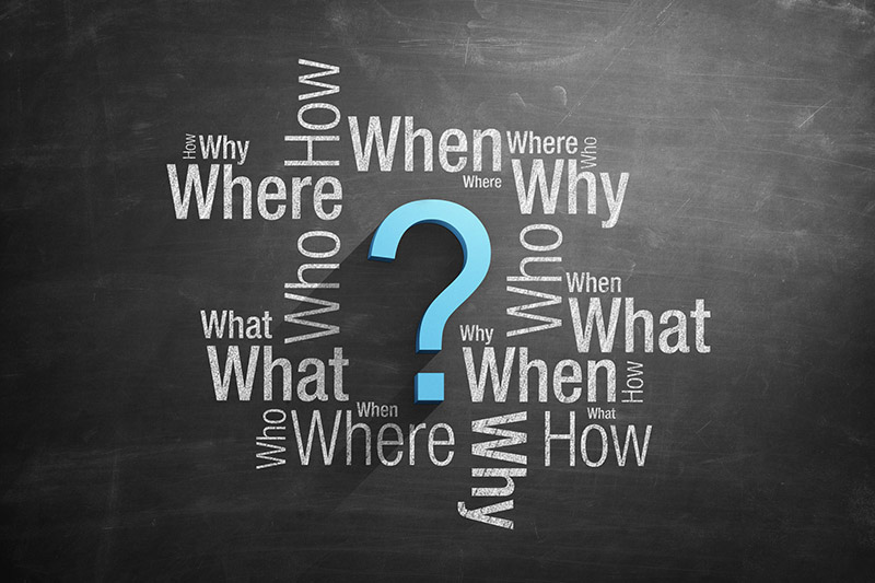 Image of who, what, when, where, why and how on a chalk board?